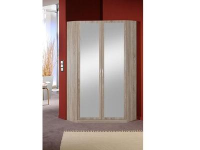 Armoire d'angle 2 portes miroirs Sprint chene