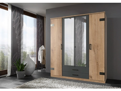 Armoire 4 portes dont 2 miroirs Cork