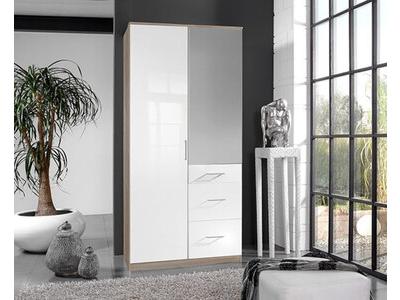 Armoire 2 portes 3 tiroirs Clack chene/ blanc brillant