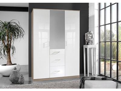 Armoire 3 portes 3 tiroirs Clack chene/ blanc brillant