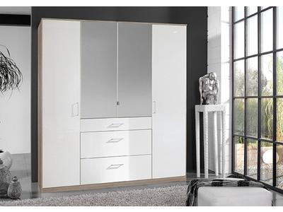 Armoire 4 portes 3 tiroirs Clack chene/ blanc brillant