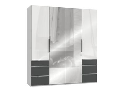 Armoire 4 portes + 6 tiroirs Level verre blanc/graphite