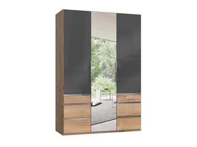 Armoire 3 portes dont 1 miroir + 6 tiroirs Level verre gris/chene poutre