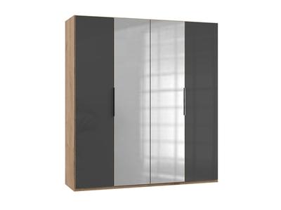 Armoire 4 portes dont 2 miroirs Level verre gris/chene poutre