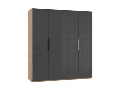 Armoire 4 portes Level verre gris/chene poutre
