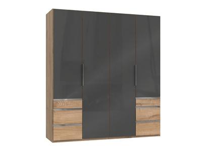 Armoire 4 portes + 6 tiroirs Level verre gris/chene poutre