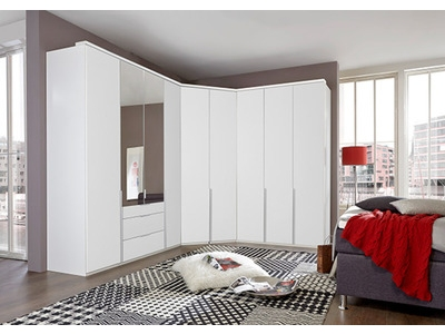 Armoire d'angle 2 portes miroir New york blanc