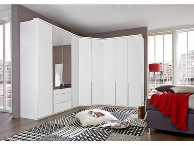 Armoire 4 portes dont 2 miroirs+2 tiroirs New york blanc
