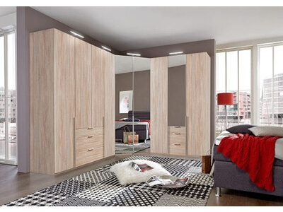 Armoire 4 portes dont 2 miroirs New york chene.
