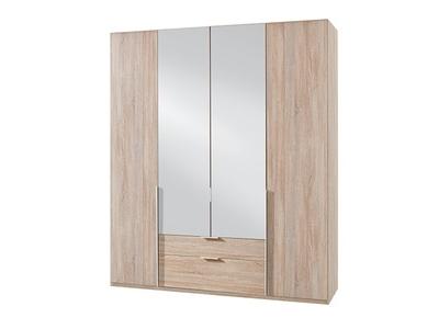 Armoire 4 portes dont 2 miroirs+2 tiroirs New york chene.