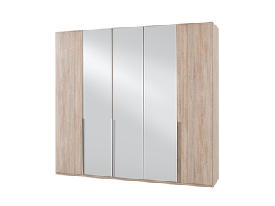 Armoire 5 portes dont 3 miroirs New york chene.