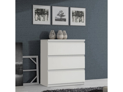 Commode 3 tiroirs Chelsea blanc