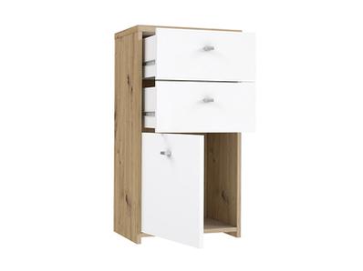 Commode 1 porte 2 tiroirs Best chest chene/blanc