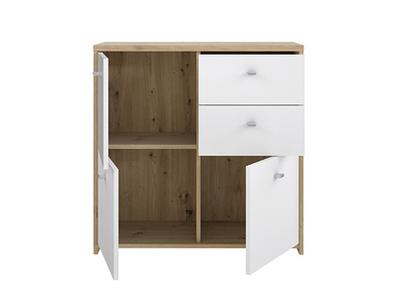 Commode 3 portes 2 tiroirs Best chest chene/blanc