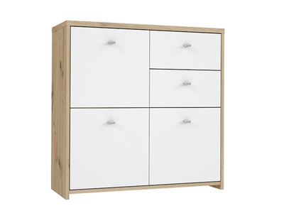 Commode 3 portes 2 tiroirs Best chest chene/blanc