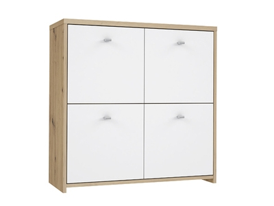 Commode 4 portes Best chest chene/blanc