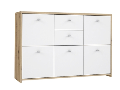 Commode 5 portes 2 tiroirs Best chest chene/blanc