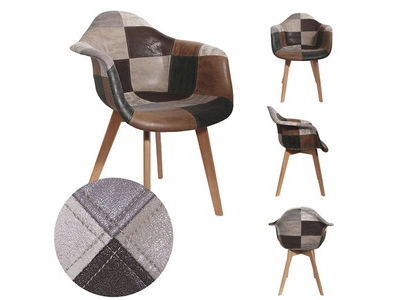 Chaise avec accoudoir Patchwork tricolore
