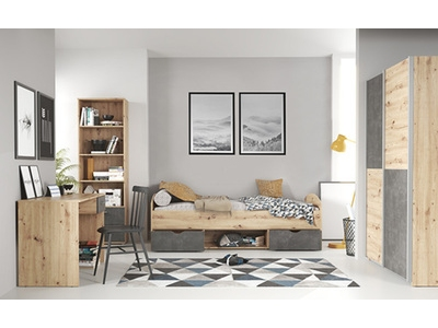 Chambre junior complete Lupo pin/béton gris anthracite