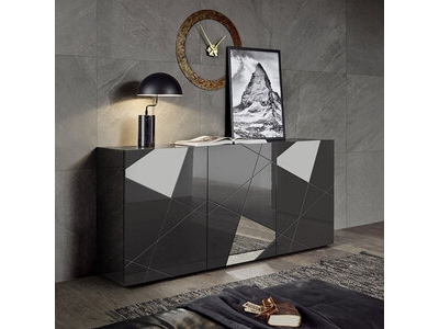 Bahut 3 portes Victoria laqué gris brillant miroir