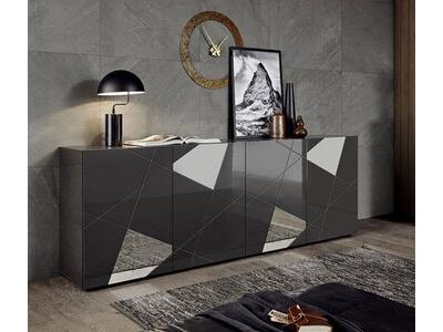 Bahut 4 portes Victoria laqué gris brillant miroir