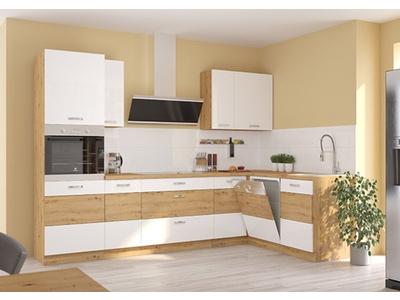 Bas 3 etageres Artisan blanc brillant/chene