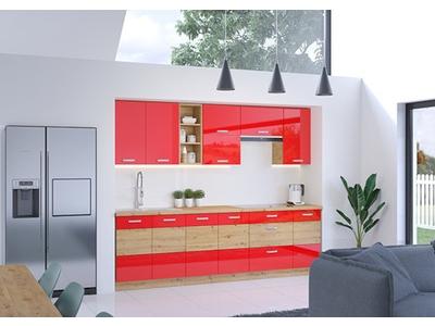 Bas 3 etageres Artisan rouge brillant/chene
