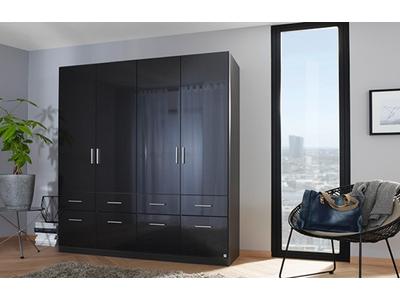 Armoire 4  portes 8 tiroirs Celle gris laqué