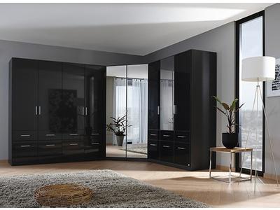 Armoire d'angle 2 portes miroirs Celle gris laqué