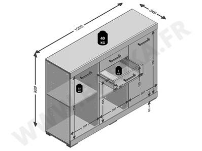 Bahut 3 portes 2 tiroirs Bristol chene artisan/gris
