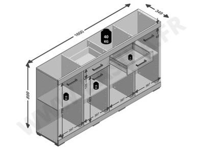 Bahut 4 portes 2 tiroirs Bristol chene artisan/gris