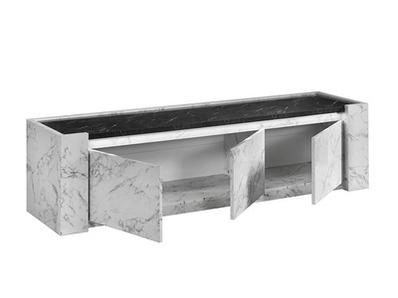 Meuble tv Vittoria marbre blanc/marbre noir