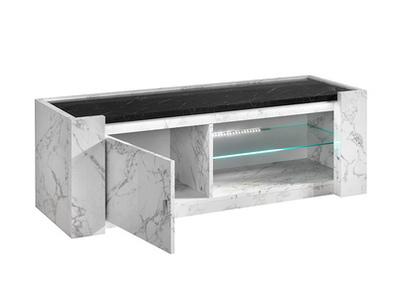 Meuble tv pm Vittoria marbre blanc/marbre noir