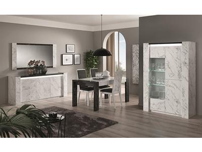 Table de repas Vittoria marbre blanc/marbre noir